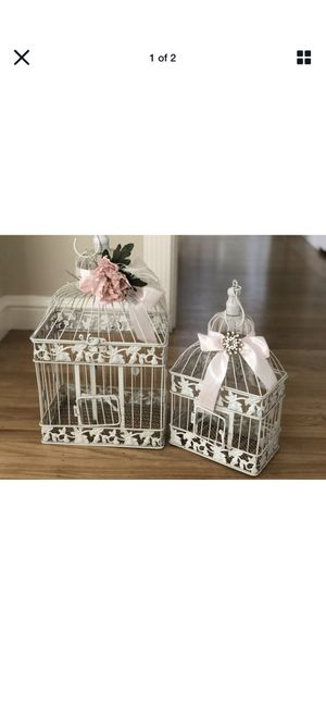 Set of two shabby chic vintage white birdcages wedding decor card box for Sale in San Francisco, CA