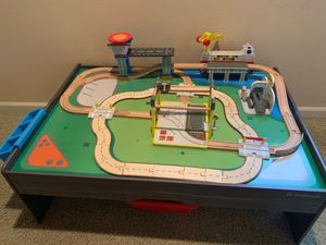 Kidkraft train set and car track with helicopter station for Sale in Salinas, CA