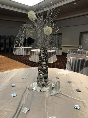 Centerpieces silver Vase & silver branches & crystals, holidays,weddings, party & more fancy decor for beautiful look! for Sale in Rockville, MD