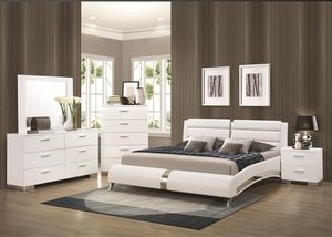 Felicity 5 Piece Bedroom Set in Glossy White Finish by Coaster - 300345 for Sale in Naples, FL