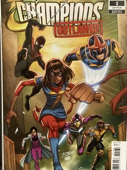 Marvel Comics CHAMPIONS OutLawed Issue #1 Variant Cover Comic Book - First Print - Key Issue - First Appearance - Miles Morales Spider-Man !! for Sale in Plainfield,  IL