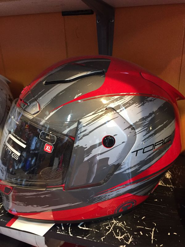 Red and grey dot motorcycle helmet $100
