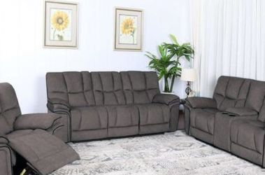 SALE!!! Barcelona Gray Or Brown Fabric Reclining Sofa, Loveseat And Chair. No Credit Needed Financing. Same Day Delivery 🚚!!! for Sale in Tampa,  FL