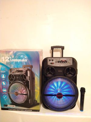 12 INCH SPEAKER* WIRELESS MICROPHONE 🎤* KAREOKE* BLUETOOTH* USB* FM* TF CARD* AUXILIARY* RECHARGEABLE 🔋* WIRELESS* WHEEL'S* HANDLE* for Sale in Rialto, CA
