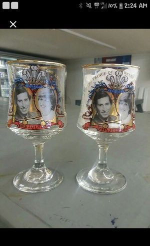 Wedding glasses for princess Diana and Charles for Sale in Broxton, GA