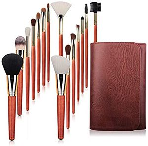 Real Perfection Makeup Brushes, 15 pcs Premium Cosmetic Makeup Brush Set Wooden Handle Synthetic Bristles Foundation Powder Concealers Blending Eye for Sale in St. Louis, MO