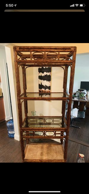 Vintage Rattan & Glass Decorative Shelves FREE for Sale in Homestead, FL