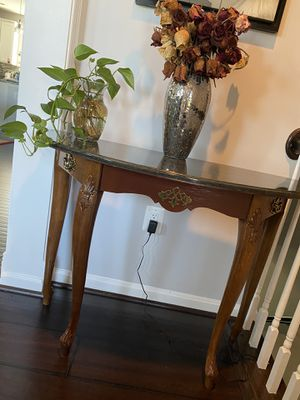Walnut Finish Wood, Hunter Green Marble Top Half Round Console Table—Gently Used. Please PM if interested. for Sale in Manassas, VA