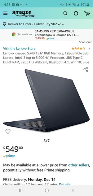 New IdeaPad laptop S340-15IWL i3 128 ssd 8gb i3 Lenovo windows 10 15.6 HD for Sale in Culver City, CA