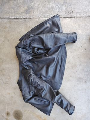 Large Reflective Leather motorcycle jacket for Sale in Puyallup, WA
