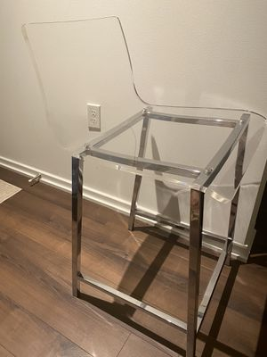 """Only (1) One Clear COUNTER STOOL 24"""" Nickel ONLY ONE CHAIR for Sale in West McLean, VA"""