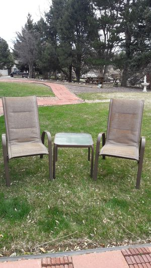 Outdoor chairs with end table for Sale in Westminster, CO