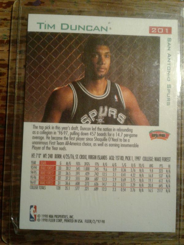 Tim Duncan ROOKIE card