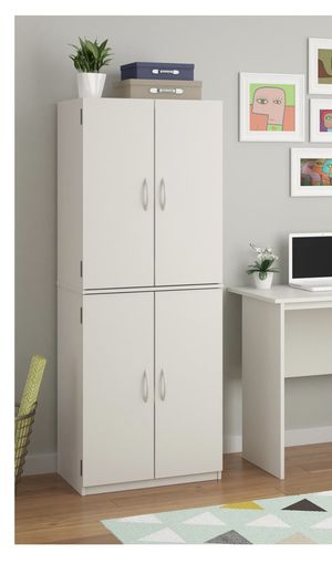 """NEW in Box, Basic 4 Doors Storage Cabinets with Adjustable Shelves ( 21""""x16""""x60""""H) White for Sale in Houston, TX"""