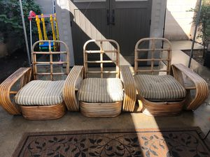 Set of 5 vintage bamboo chairs for Sale in Long Beach, CA