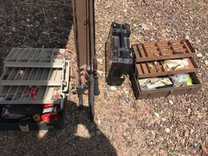 Fishing gear ! Rods reels tackle boxes vintage and new Kennedy box and lures for Sale in Phoenix, AZ