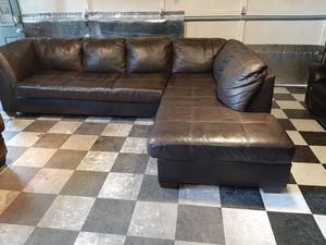 Fantastic real leather sectional couch for Sale in Renton, WA