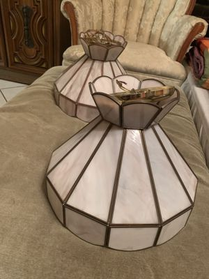 Set of 2 Beautiful Mother of Pearl Tiffany Style Ceiling Lamps - Lamparas de techo for Sale in Miami, FL
