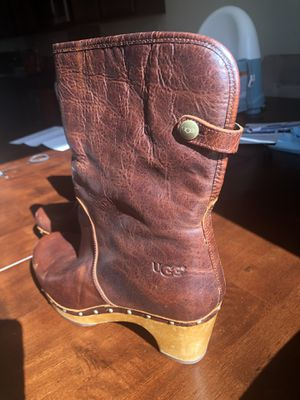 UGG Leather Boots with Wooden Heel Size 10 for Sale in San Bernardino, CA