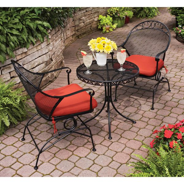 Brand New 3 Piece Outdoor Bistro Set Red Patio Dining Area Seating Event Family Friends Gathering Relaxing Home Backyard Garden Iron Steel