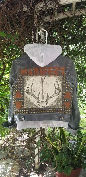 Handmade denim hoodie vest jacket punk for Sale in Brandon, FL