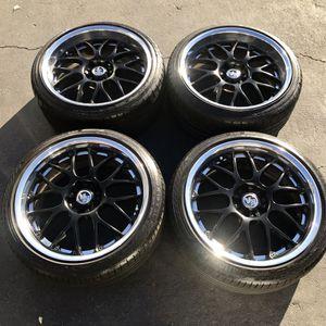 "19"" Infiniti G37 Volk Racine Rays Eng wheels 19 inch black rims 2 piece wheels continental Infiniti for Sale in Santa Ana, CA"