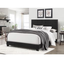 Brand New Bed Frame Black Color Faux Leather (BOX SPRING REQUIRED ) for Sale in Pomona,  CA