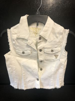 Girls size 10 guess white vest and summer and winter clothes for kids all ages and men's and women's and juniors. Let me know what you're looking for for Sale in Dearborn Heights, MI