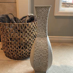 White Metal Decorative Vase for Sale in Kirkland, WA