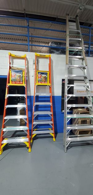 Brand new pair of Werner 12 ft fiberglass podium stepladders for Sale in Madison Heights, MI