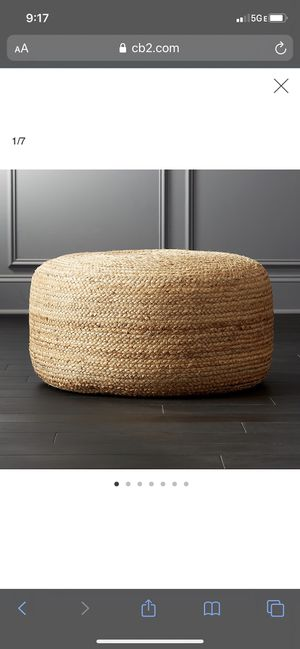 Crate and Barrel Braided Jute Pouf Large for Sale in Tampa, FL