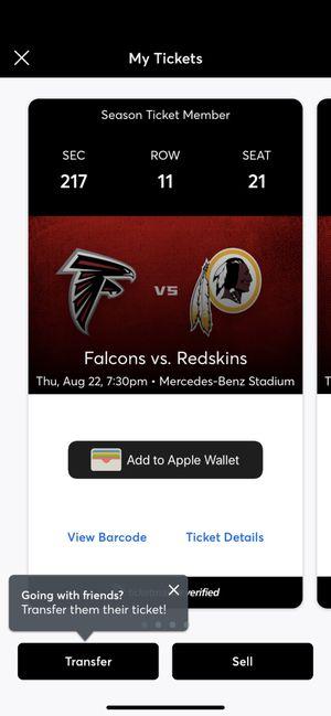 Falcons Vs. Redskins for Sale in Lilburn, GA