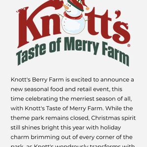 Knotts Taste Of Merry. for Sale in Corona, CA