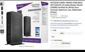 NETGEAR C3000-100NAS N300 (8x4) WiFi DOCSIS 3.0 Cable Modem Router (C3000) Certified for Xfinity fro for Sale in Alafaya, FL
