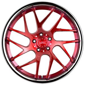 "20"" Staggered Vertini RF1.4 Brushed Red with Chrome Lip Rims for Sale in Montgomery, AL"
