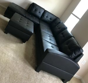New Black Sofa/Sectional w/ Storage Ottoman for Sale in Silver Spring, MD