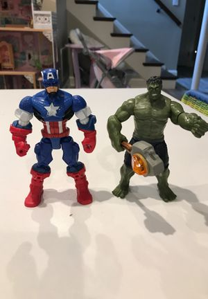 Marvel hulk and captain America action figures for Sale in Morton Grove, IL
