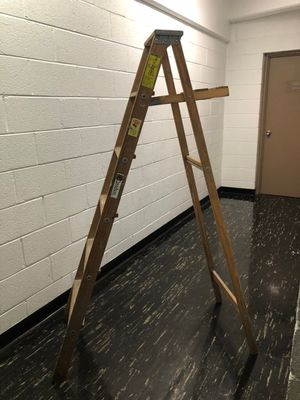 6 foot tall ladder real wood good condition for Sale in Washington, DC