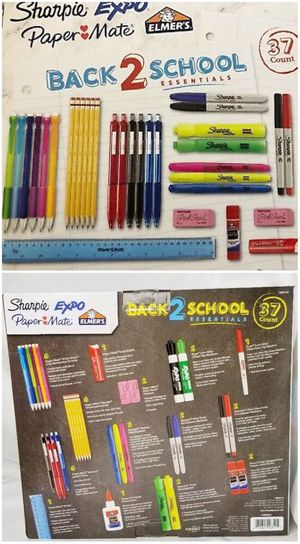 NEW 37 count back 2 school sharpie expo paper mate Elmer's glue pencil high lighter dry erase marker ruler school suppy kit for Sale in Covina, CA