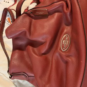 Large Red Leather Coach Bag In EUC for Sale in Lexington, SC