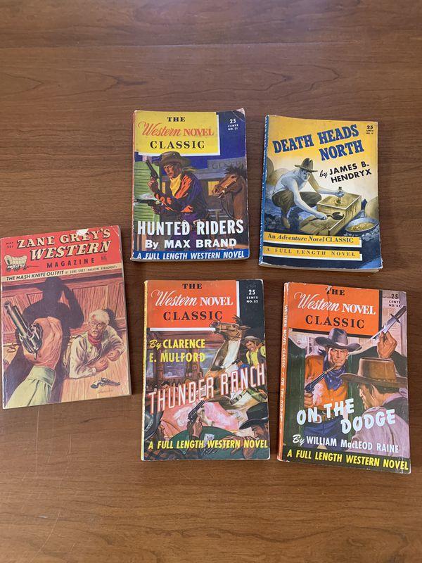 Lot of 5 1930s/ 40s Western Pulp Novels