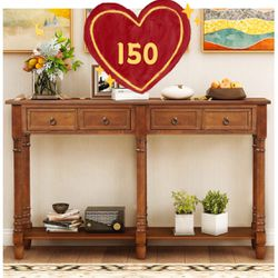 Brand new!Console Tables for Entryway, Console Sofa Table with Two Storage Drawers and Bottom Shelf for Living Room (Antique Walnut) for Sale in Hacienda Heights,  CA