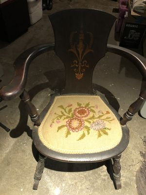 Antique wooden chairs with needlepoint seats for Sale in Seattle, WA