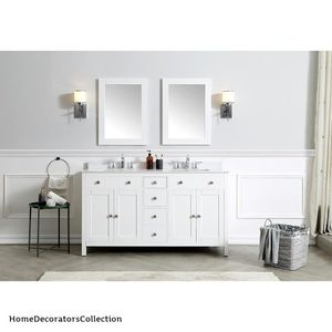 Home Decorators Collection Austen 60 in. W x 22 in. D Bath Vanity in White with Cultured Marble Vanity Top in Yves White with White Sinks for Sale in Dallas, TX