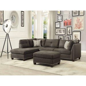 CHARCOAL LINEN FABRIC SECTIONAL SOFA CHAISE OTTOMAN / SILLON SECCIONAL for Sale in Rancho Cucamonga, CA