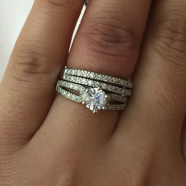 Gold plated ring band wedding engagement casual love ring size 6