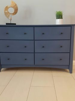 wooden dresser, in a blue color, working well, good condition, distress paint, unique design, new handle, lot space, 50×18 H 30 ,pick up location west for Sale in West Hills,  CA