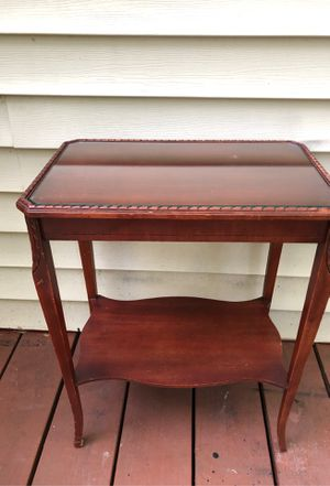Antique Wood Table with Glass Top for Sale in Smyrna, GA