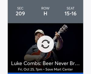 Luke combs concert tickets for sale (2) for Sale in Fresno, CA