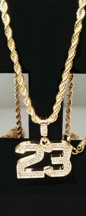 """14K Gold Plated Iced Lucky 23 Pendant with 30"""" Rope Chain Necklace New in Gift Box for Sale in Boca Raton, FL"""